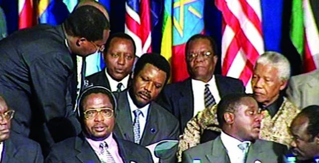 Stakeholders signed the Arusha Peace and Reconciliation Agreement on 28 August 2000 in Arusha, Tanzania.